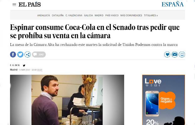 Espinar consumo Coca-cola