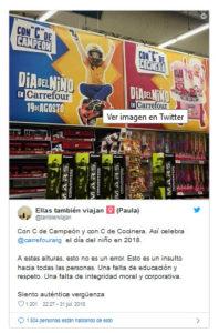 Tweet sobre la publicitat sexista a Carrefour.
