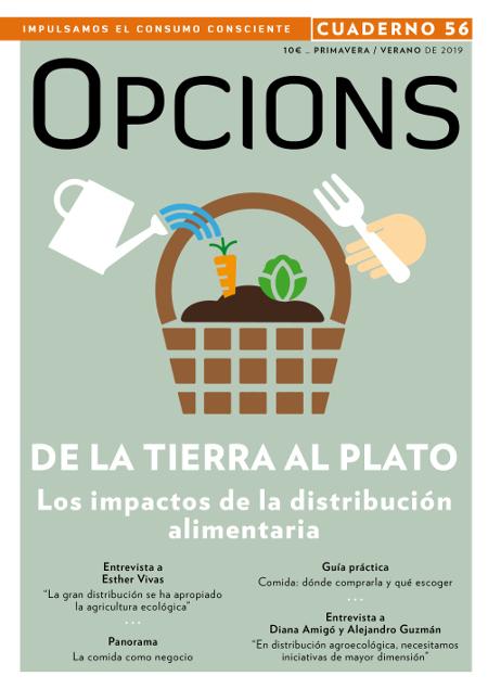 """Portada cuaderno """"De la tierra al plato"""". Opcions núm. 56. Distribución alimentaria."""