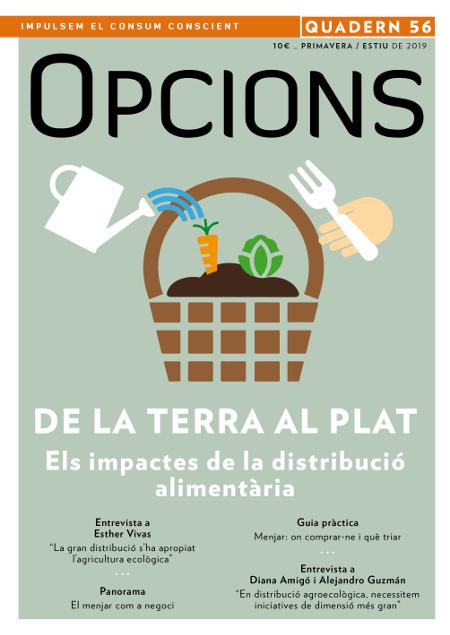 """Portada quadern Opcions """"De la terra al plat"""". Núm. 56. Distribució alimentària."""