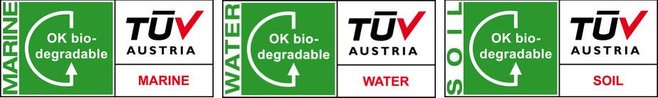 Certificat OK biodegradable de la certificadora TÜV Austria Vinçotte