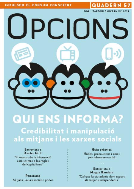 Portada del darrer quadern d'Opcions, dedicat a analitzar els mitjans de comunicació.