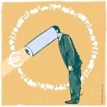 Il·lustració de Marc Morera que denuncia l'obsessió del preu respecte altres criteris